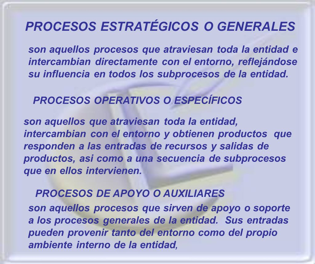 PROCESOS ESTRATÉGICOS O GENERALES