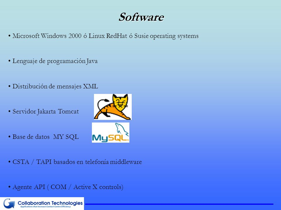 Software Microsoft Windows 2000 ó Linux RedHat ó Susie operating systems. Lenguaje de programación Java.