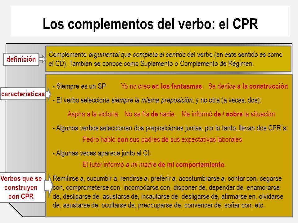 Los complementos del verbo: el CPR Verbos que se construyen con CPR