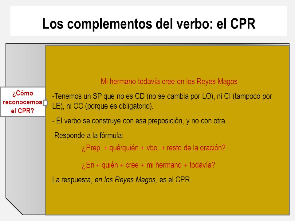 Los complementos del verbo: el CPR ¿Cómo reconocemos el CPR