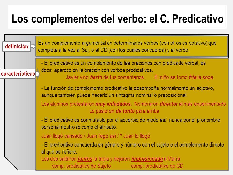 Los complementos del verbo: el C. Predicativo