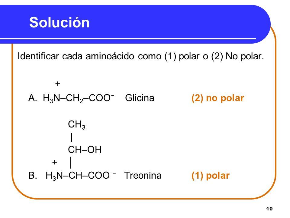 Solución Identificar cada aminoácido como (1) polar o (2) No polar. +