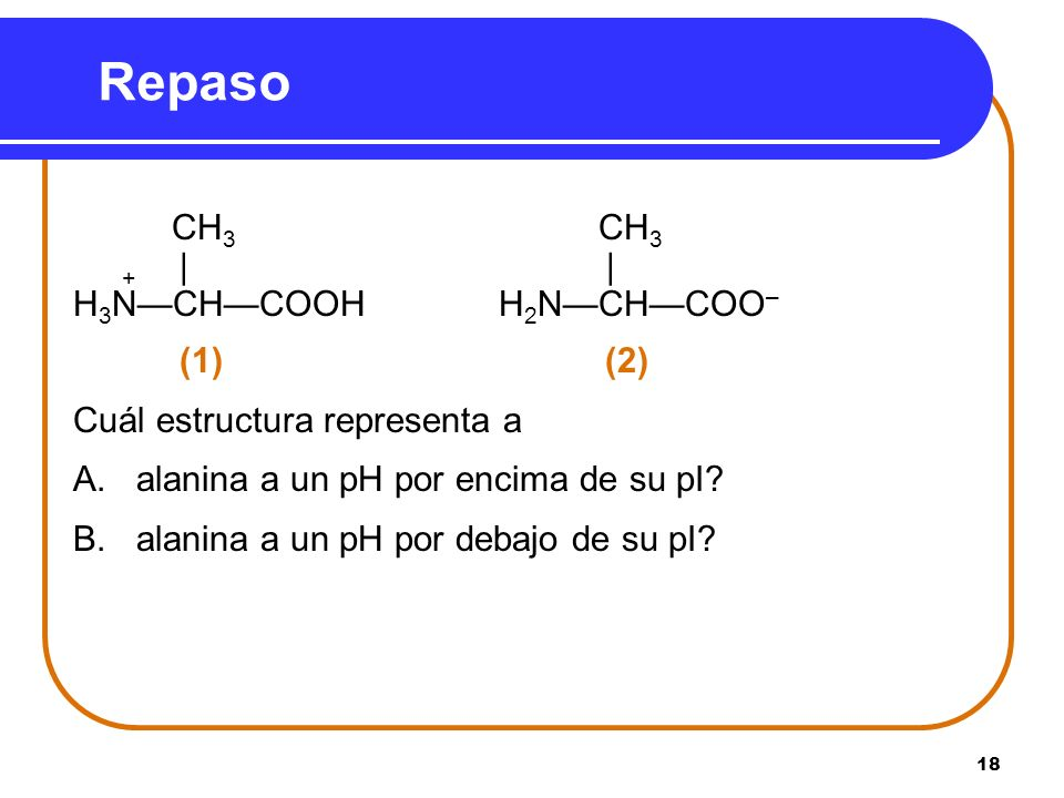Repaso + | | H3N—CH—COOH H2N—CH—COO– (1) (2)