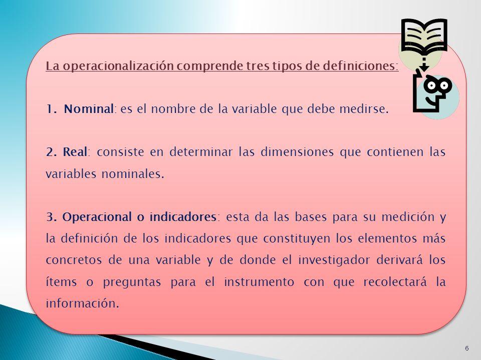 La operacionalización comprende tres tipos de definiciones: