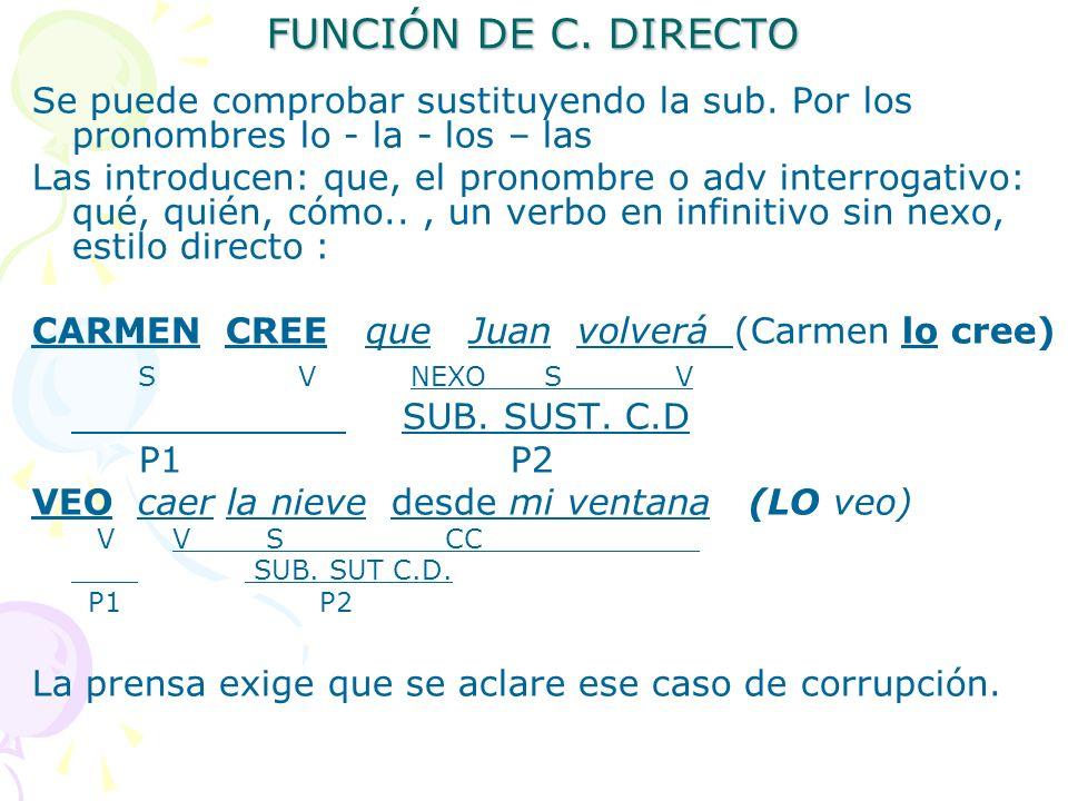 FUNCIÓN DE C. DIRECTO Se puede comprobar sustituyendo la sub. Por los pronombres lo - la - los – las.