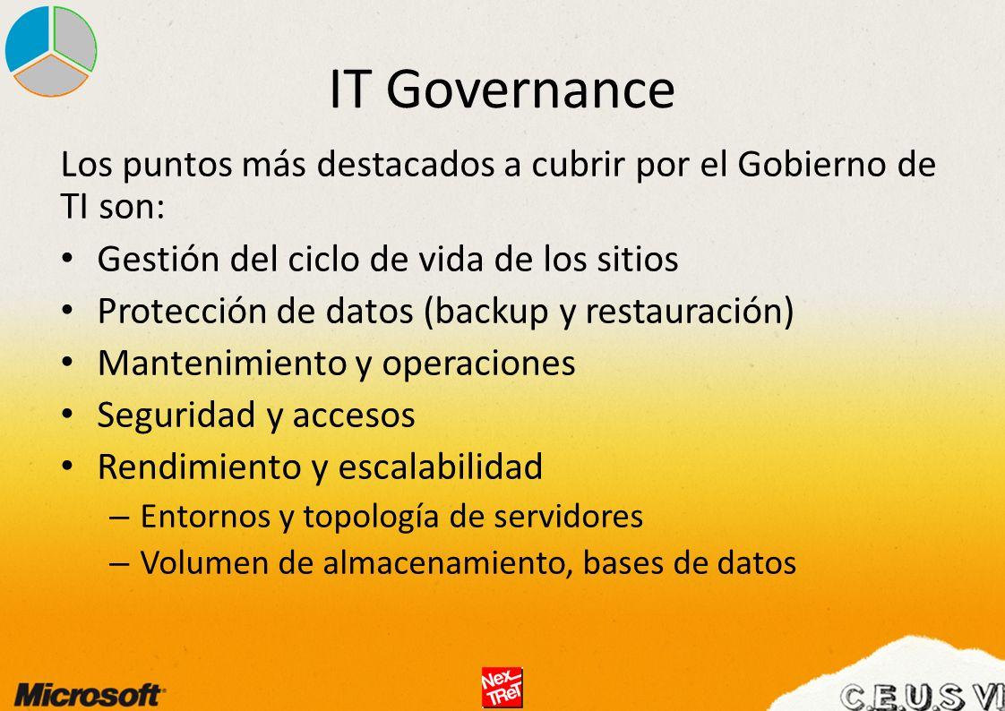 IT Governance Los puntos más destacados a cubrir por el Gobierno de TI son: Gestión del ciclo de vida de los sitios.