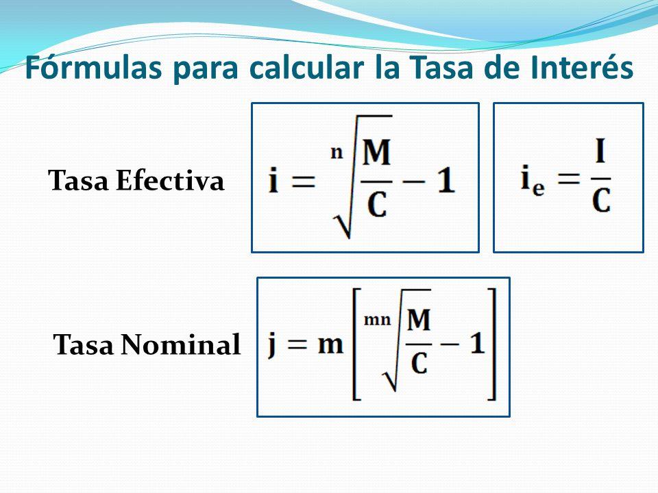 Fórmulas para calcular la Tasa de Interés