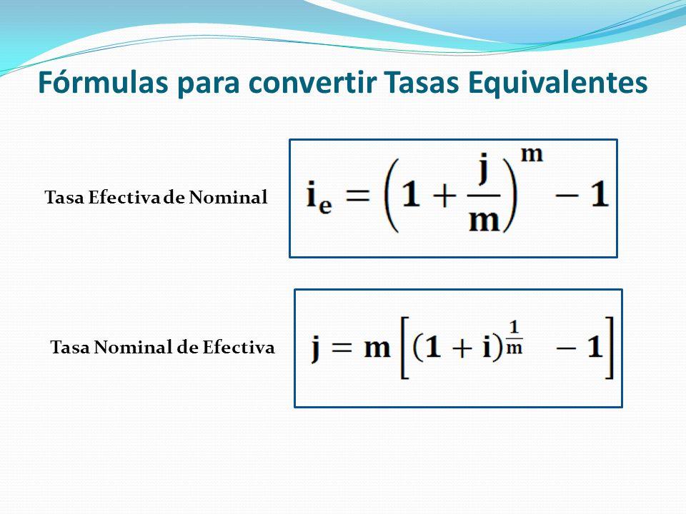 Fórmulas para convertir Tasas Equivalentes
