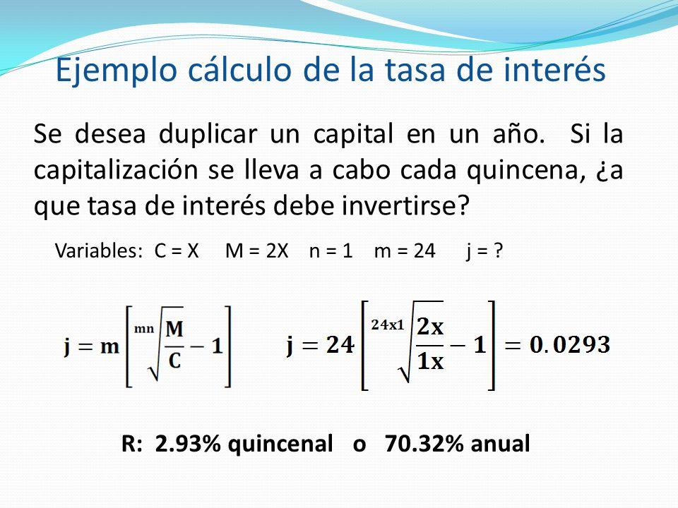 Ejemplo cálculo de la tasa de interés
