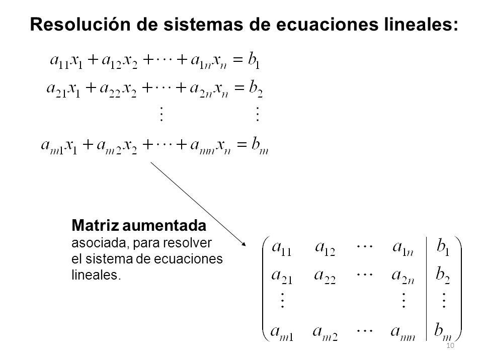 Resolución de sistemas de ecuaciones lineales: