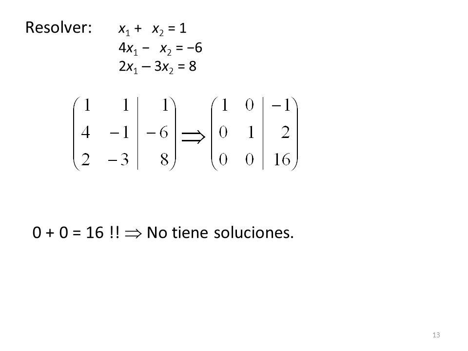 Resolver: x1 + x2 = 1 4x1 − x2 = −6 2x1 – 3x2 = 8