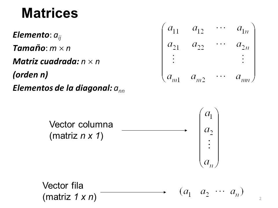 Matrices Elemento: aij Tamaño: m  n Matriz cuadrada: n  n (orden n)