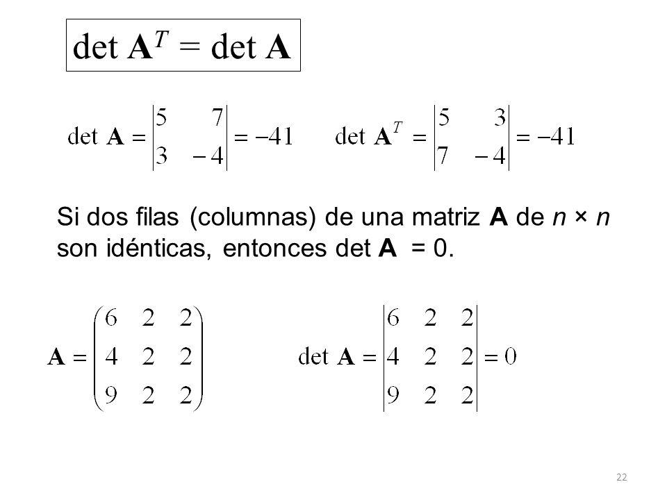 det AT = det A Si dos filas (columnas) de una matriz A de n × n son idénticas, entonces det A = 0.