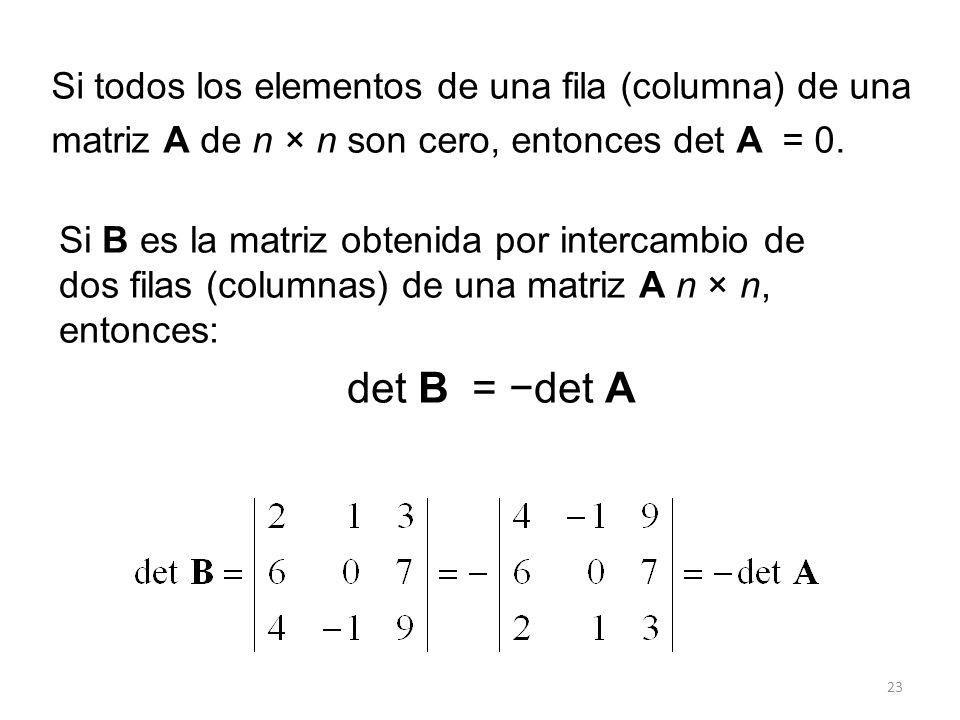 Si todos los elementos de una fila (columna) de una