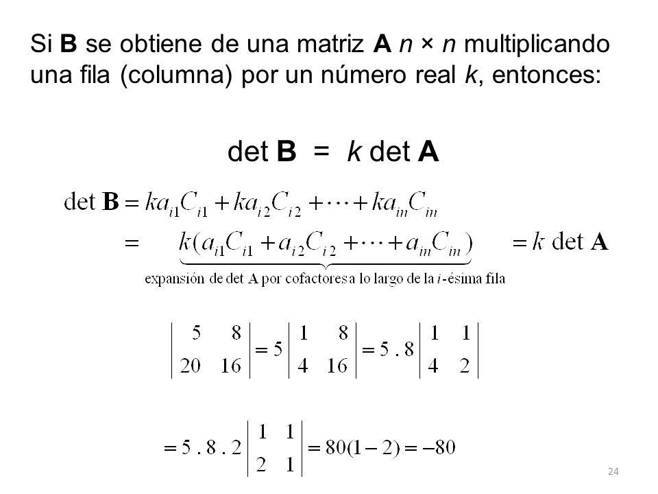 Si B se obtiene de una matriz A n × n multiplicando una fila (columna) por un número real k, entonces: