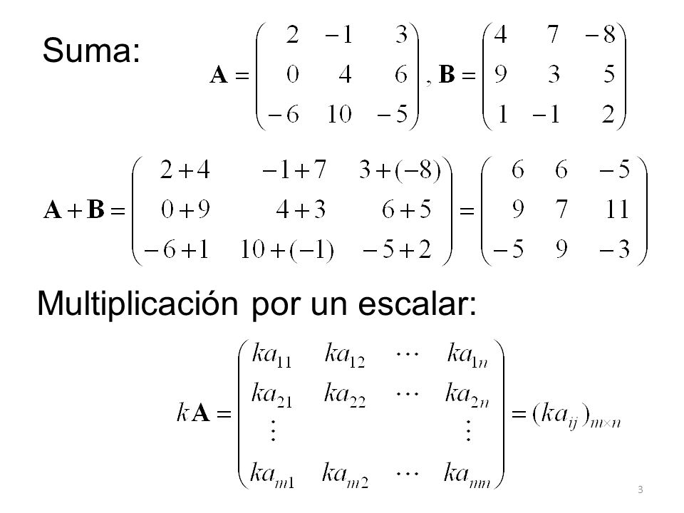 Suma: Multiplicación por un escalar: