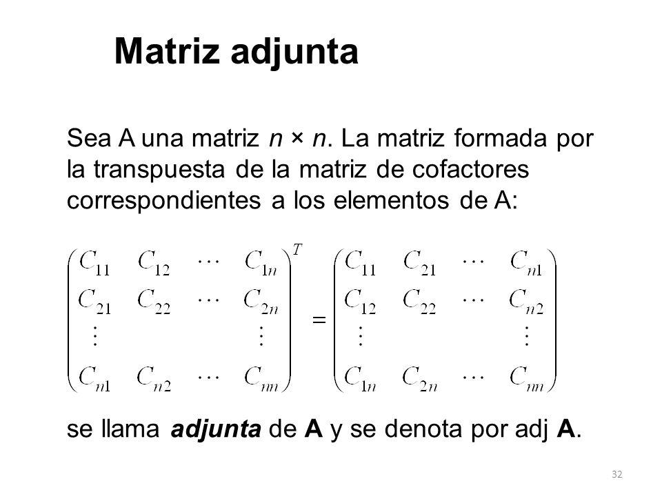 Matriz adjunta Sea A una matriz n × n. La matriz formada por la transpuesta de la matriz de cofactores correspondientes a los elementos de A: