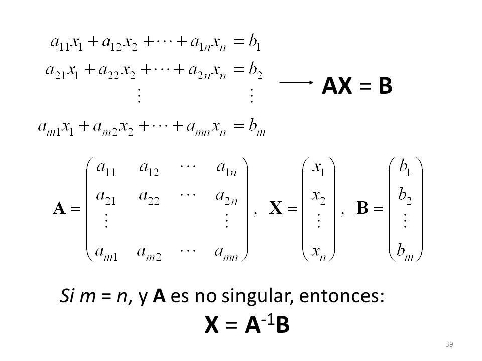 AX = B Si m = n, y A es no singular, entonces: X = A-1B