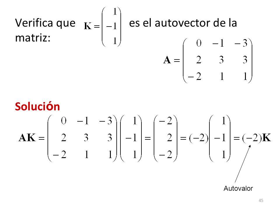 Verifica que es el autovector de la matriz: