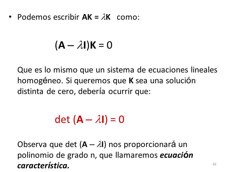 Podemos escribir AK = K como: