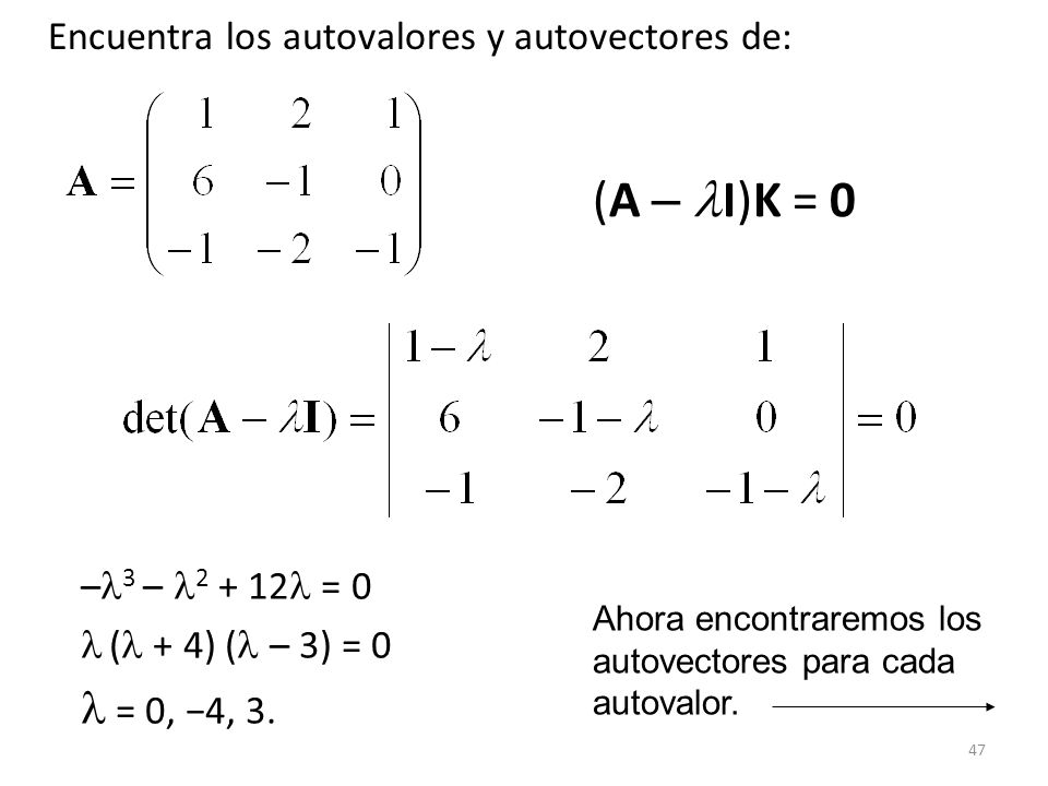 (A – I)K = 0 Encuentra los autovalores y autovectores de: