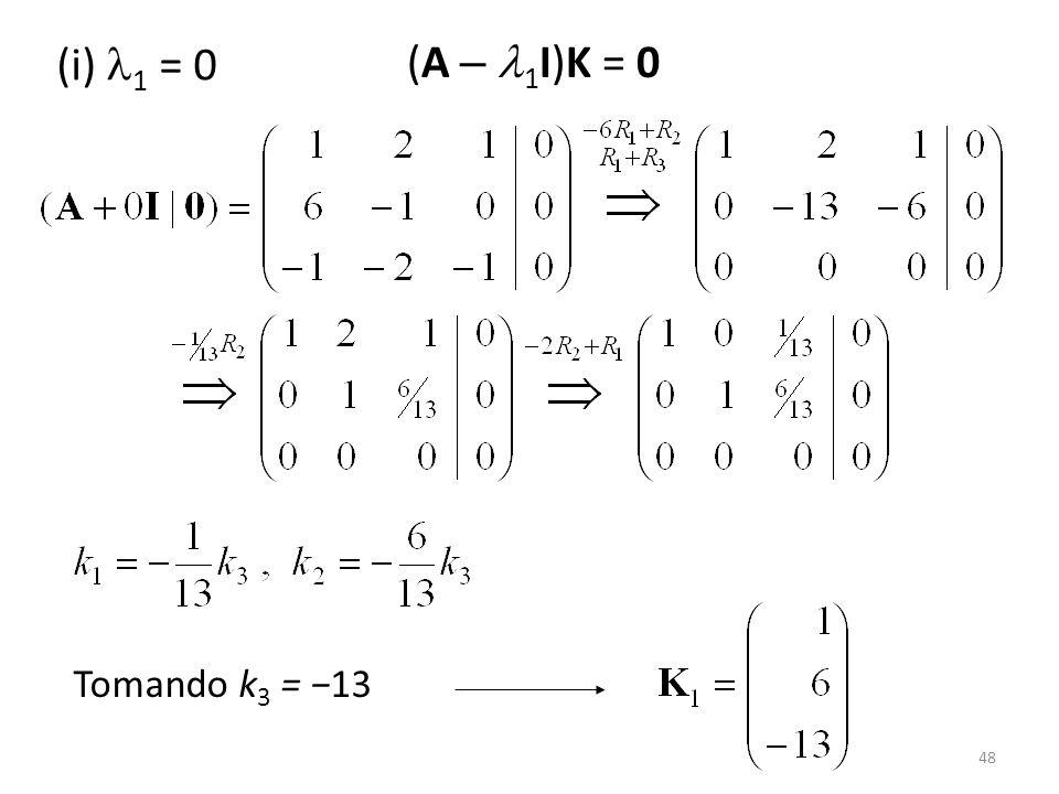 (i) 1 = 0 (A – 1I)K = 0 Tomando k3 = −13