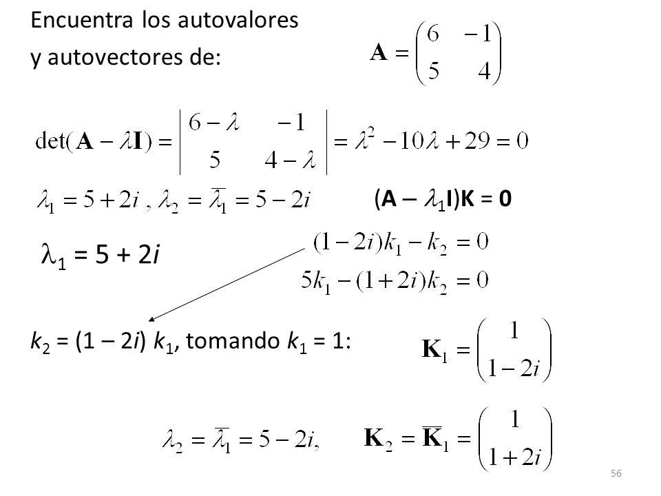 1 = 5 + 2i Encuentra los autovalores y autovectores de: