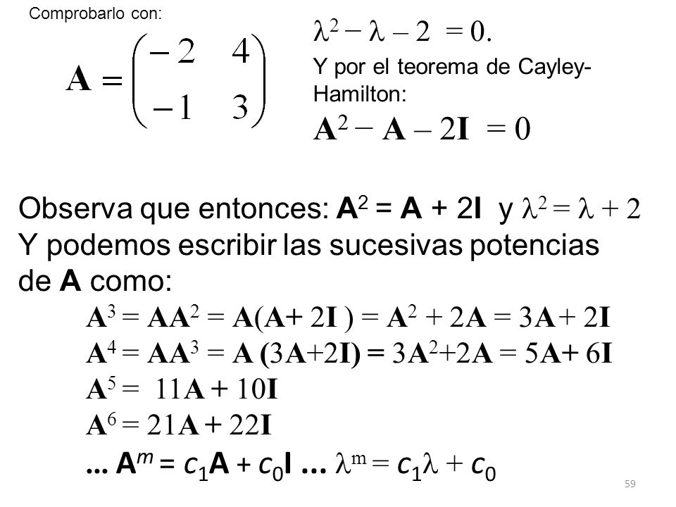 Comprobarlo con: 2 −  – 2 = 0. Y por el teorema de Cayley-Hamilton: A2 − A – 2I = 0. Observa que entonces: A2 = A + 2I y 2 =  + 2.