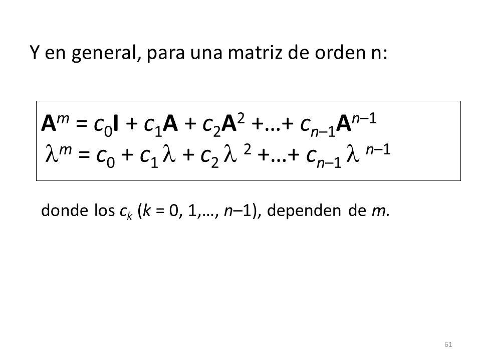 Y en general, para una matriz de orden n: