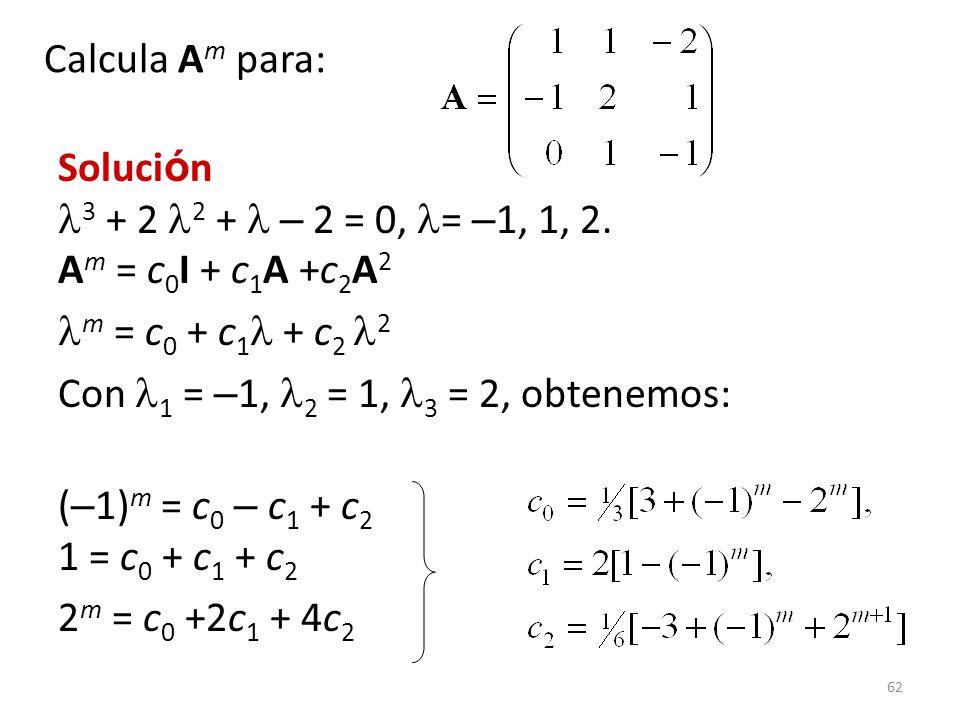 Calcula Am para: Solución 3 + 2 2 +  – 2 = 0, = –1, 1, 2. Am = c0I + c1A +c2A2. m = c0 + c1 + c2 2.