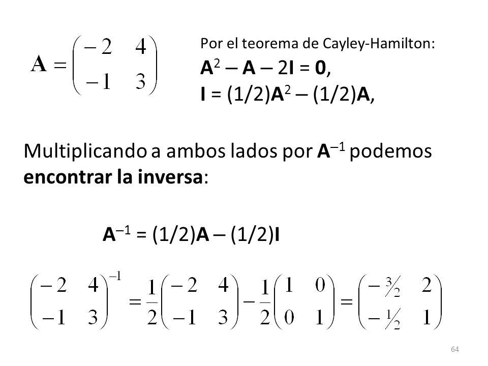 Por el teorema de Cayley-Hamilton:. A2 – A – 2I = 0,