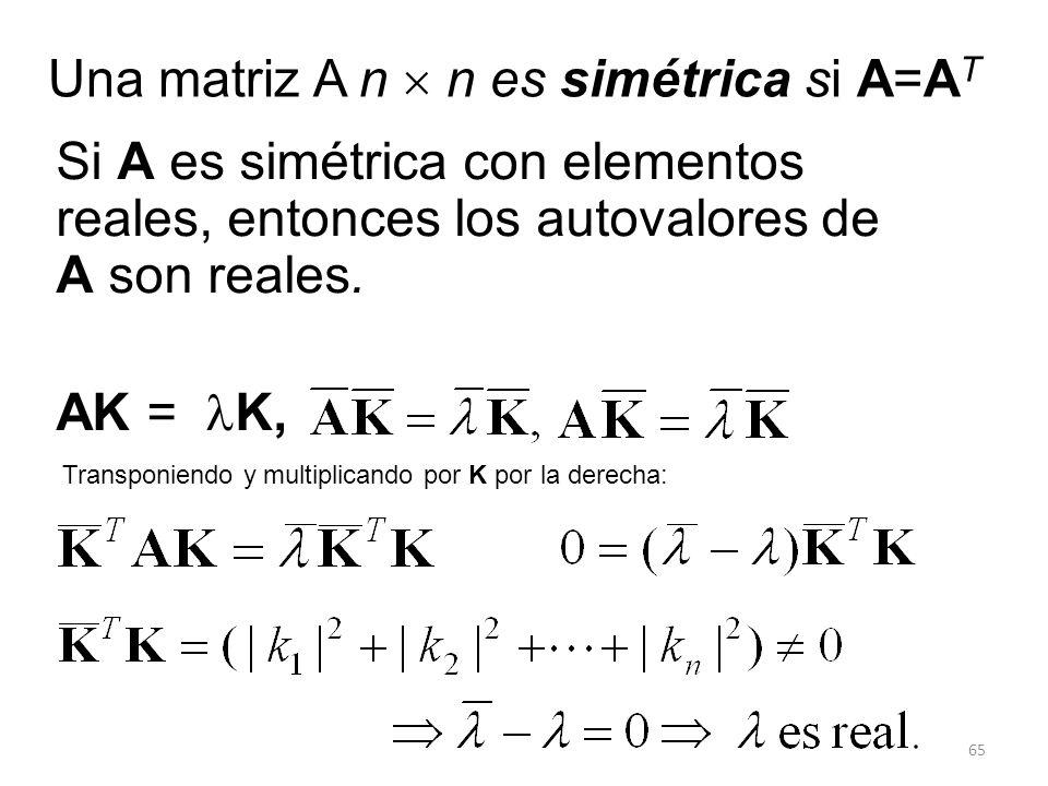 Una matriz A n  n es simétrica si A=AT
