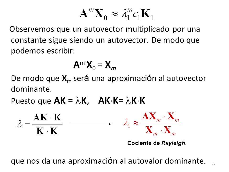 Observemos que un autovector multiplicado por una constante sigue siendo un autovector. De modo que podemos escribir: