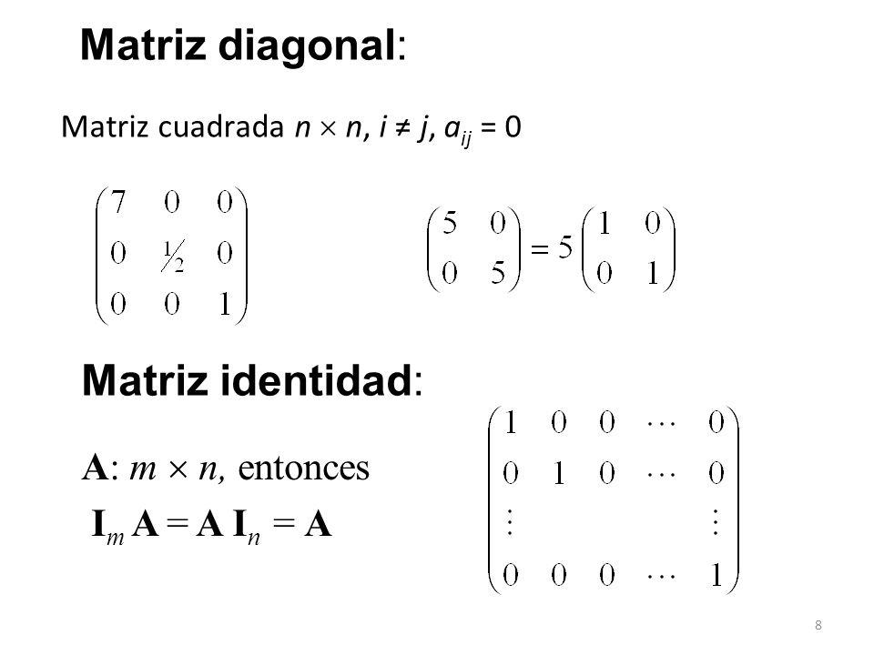 Matriz diagonal: Matriz identidad: A: m  n, entonces Im A = A In = A