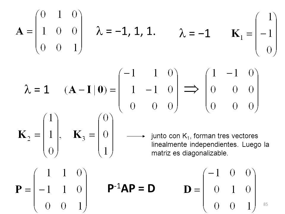  = −1, 1, 1.  = −1.  = 1. junto con K1, forman tres vectores. linealmente independientes. Luego la.
