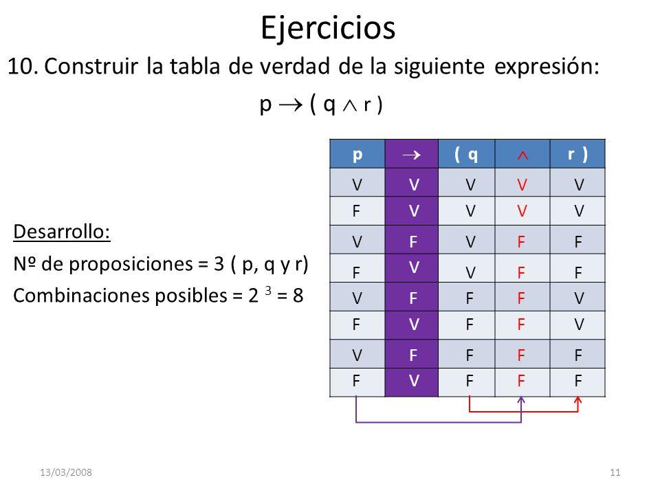 Ejercicios Construir la tabla de verdad de la siguiente expresión: