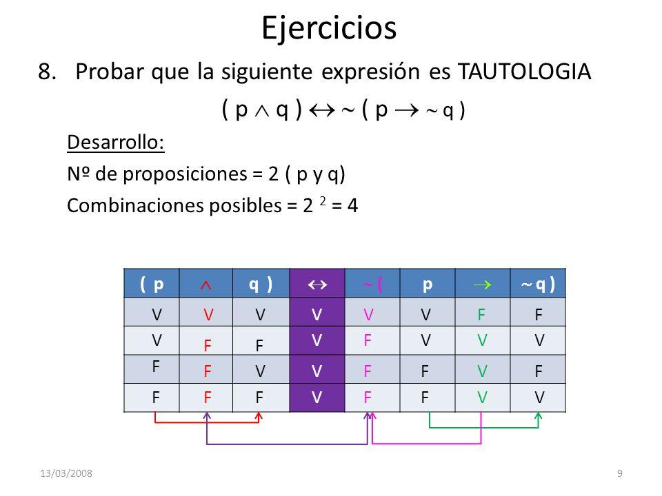 Ejercicios Probar que la siguiente expresión es TAUTOLOGIA