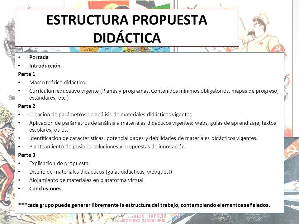 ESTRUCTURA PROPUESTA DIDÁCTICA