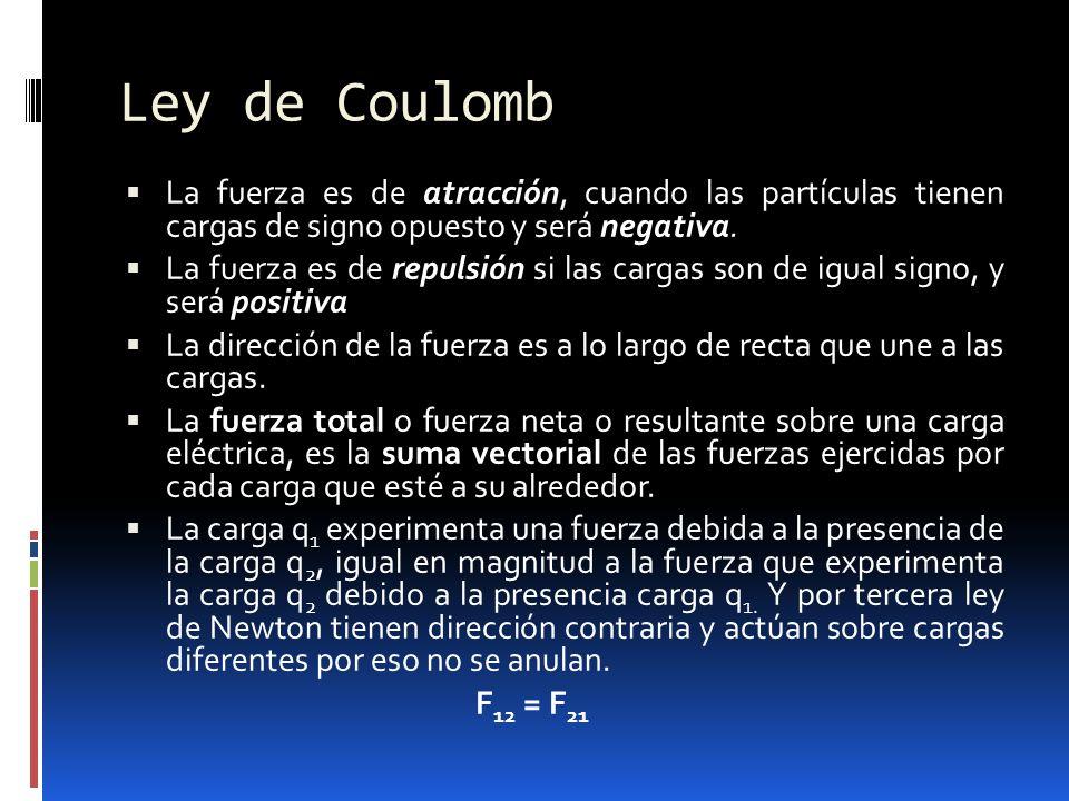 Ley de Coulomb La fuerza es de atracción, cuando las partículas tienen cargas de signo opuesto y será negativa.