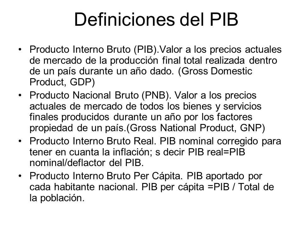 Definiciones del PIB