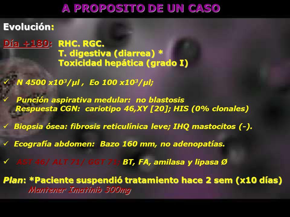 A PROPOSITO DE UN CASO Evolución: Día +180: RHC. RGC.