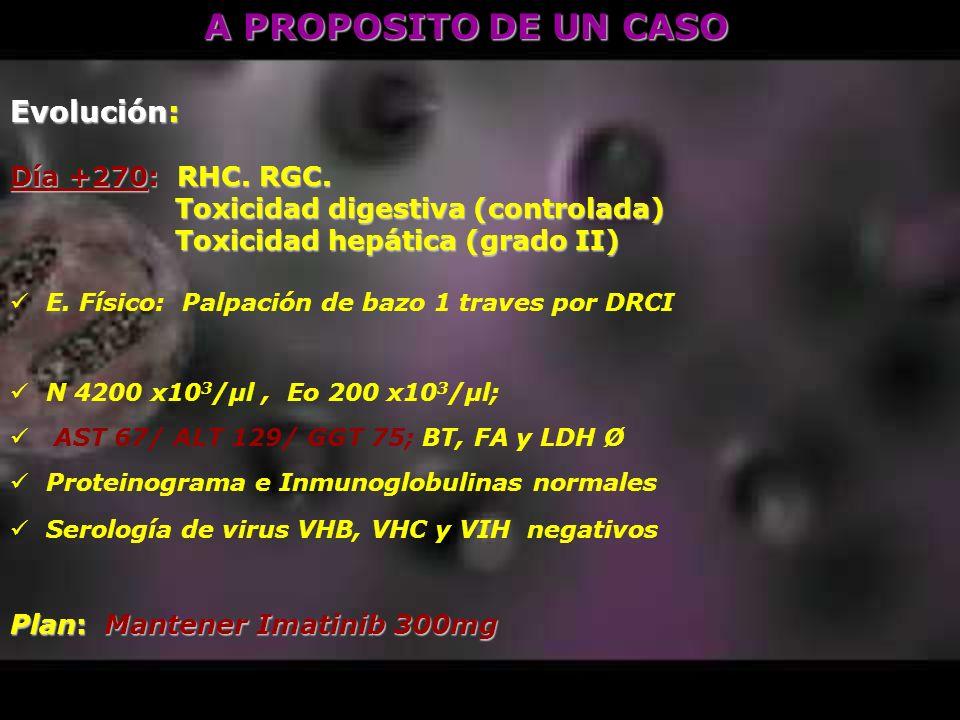 A PROPOSITO DE UN CASO Evolución: Día +270: RHC. RGC.