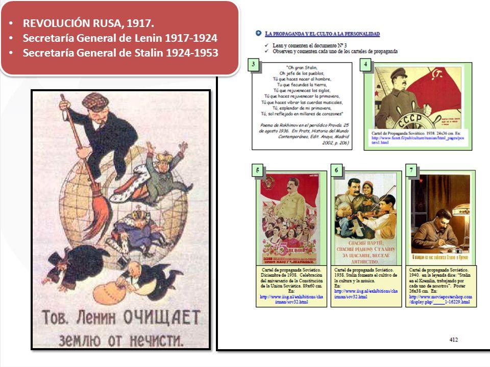 REVOLUCIÓN RUSA, 1917. Secretaría General de Lenin 1917-1924 Secretaría General de Stalin 1924-1953