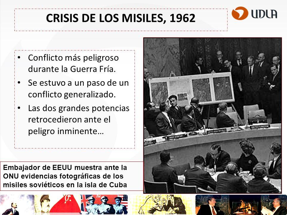 CRISIS DE LOS MISILES, 1962 Conflicto más peligroso durante la Guerra Fría. Se estuvo a un paso de un conflicto generalizado.