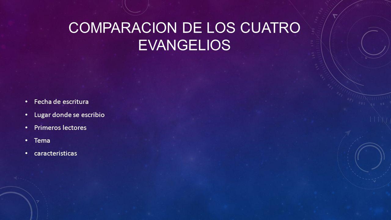 Comparacion de los cuatro evangelios