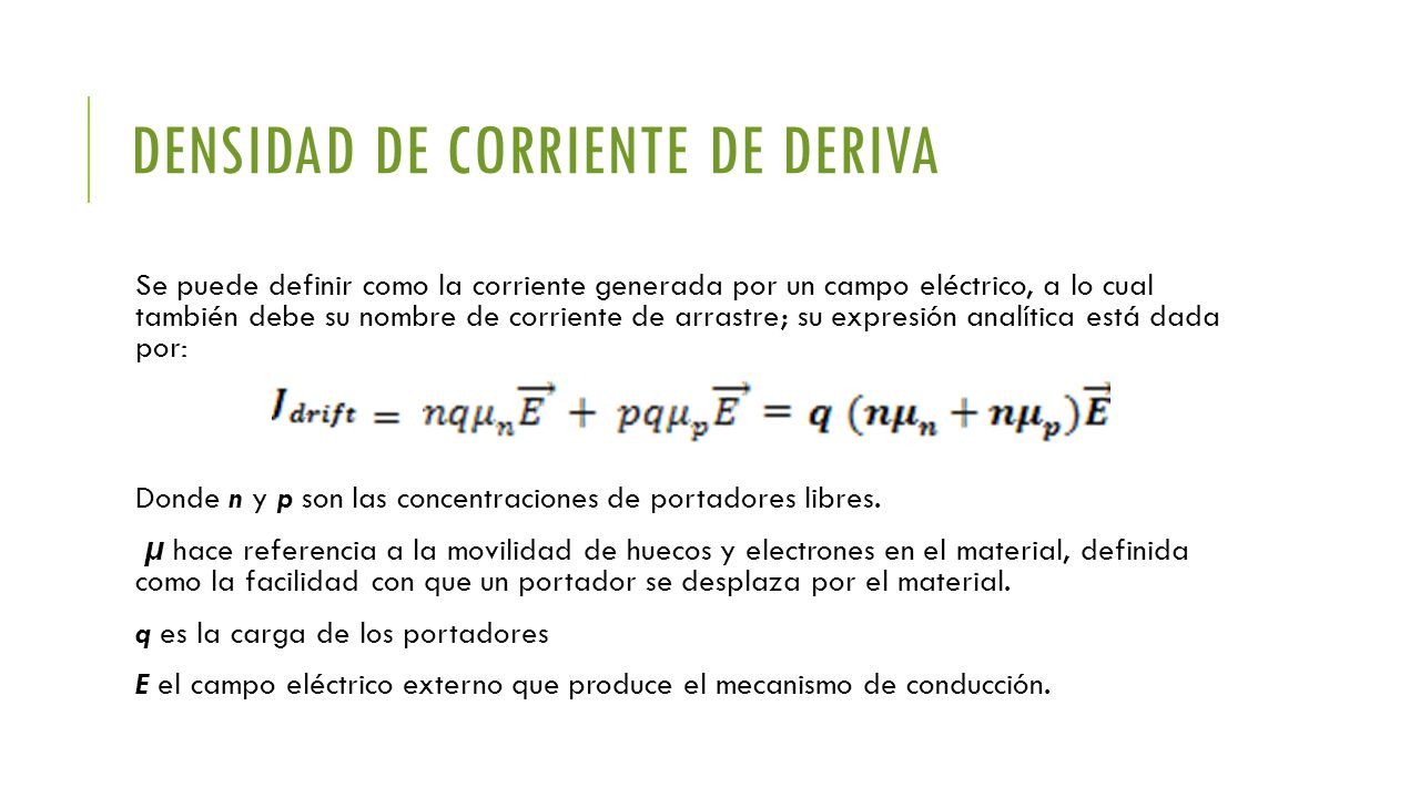 Densidad de corriente de deriva