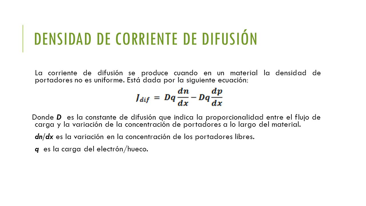 Densidad de corriente de difusión