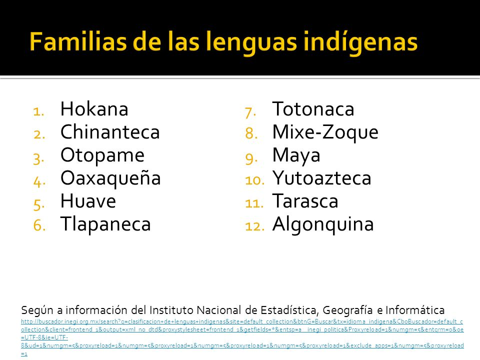 Familias de las lenguas indígenas