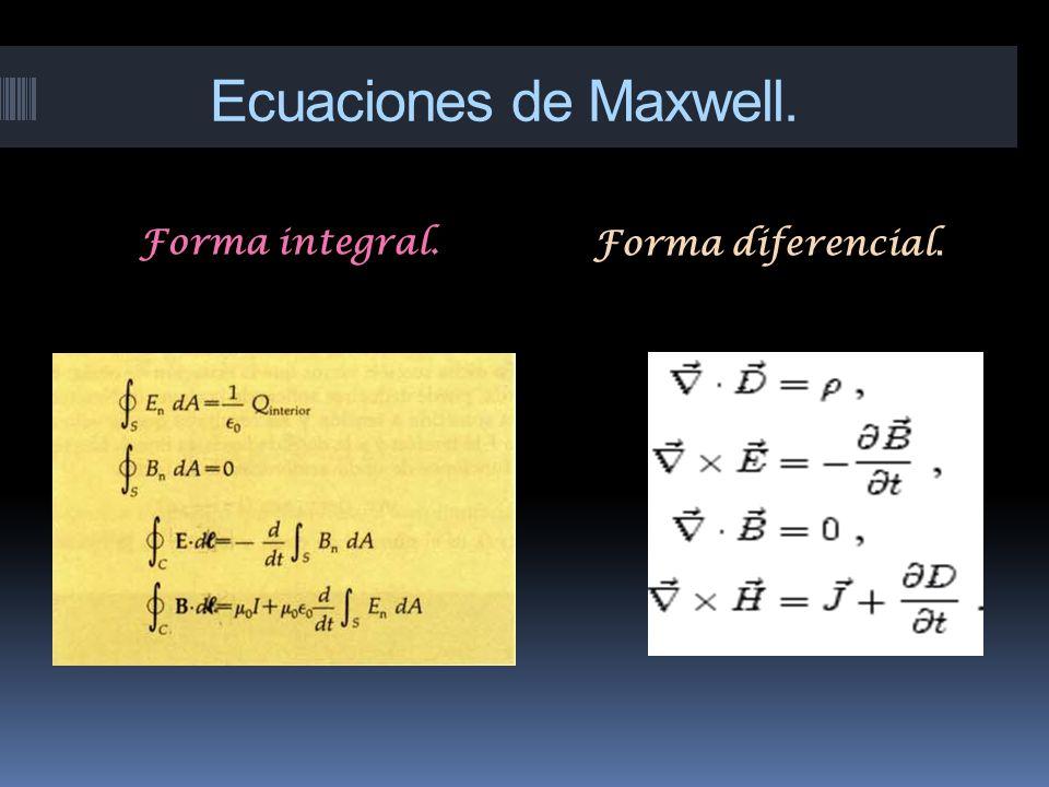 Ecuaciones de Maxwell. Forma integral. Forma diferencial.