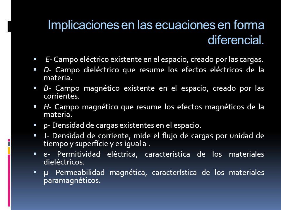 Implicaciones en las ecuaciones en forma diferencial.